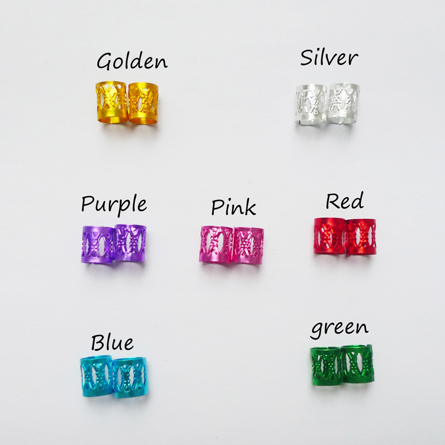 100 Teile / beutel Mix 7 Farben Goldene Silber Überzogene Dread - Haarpflege und Styling - Foto 4