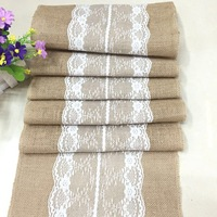 Hot Sale Vintage Natural Burlap Jute Linen Table Runner Lace Cloth For Dinning Room Restaurant Table