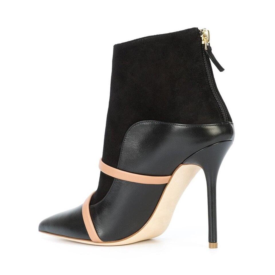 Haut Heel Bottes black grey Black Pompes Chaussures Parti Deux Cuir Robe Bout Nouveau Mode Glissière Dames Talon Femmes Gold De Au Heel Mules En Dos Cheville Ceintures Pointu Femme YWwtFf