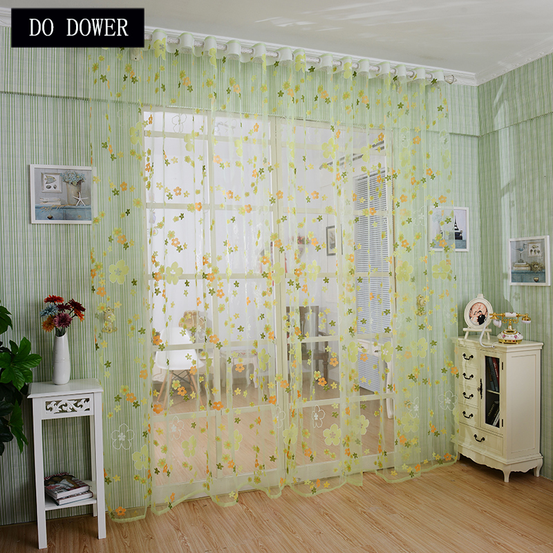 Window Curtains Sheer Voile Tulle Colored flowers Sun-shading Curtains for Living Room Balcony Children Bedroom Decoration