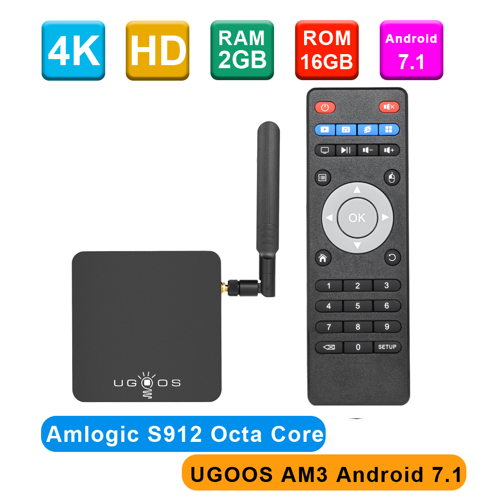 UGOOS Smart Android 7.1 TV Box AM3 AM6 Octa core H.265 UHD 4K HDR 2GB 16GB 2.4G & 5G WiFi & 1000M LAN DLNA Miracast HD Media Player-in Set-top Boxes van Consumentenelektronica op  Groep 1