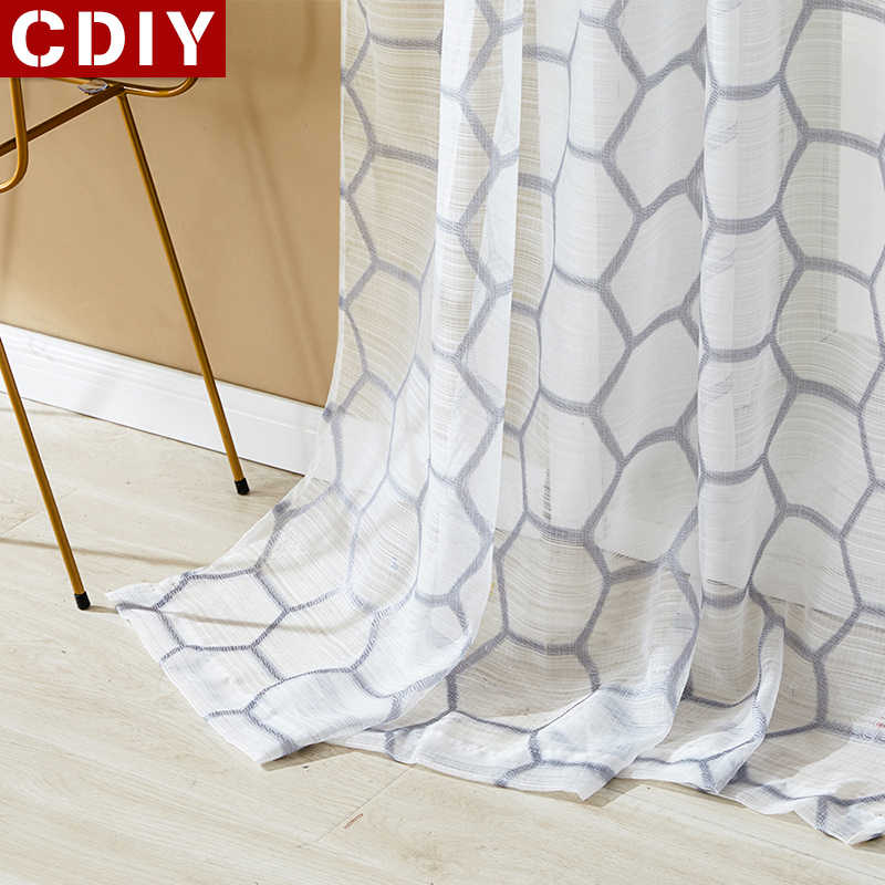 CDIY Tulle Curtains for Living Room Modern Geometric Sheer Curtain for Bedroom Voile Curtain Organza Window Treatments Drapes
