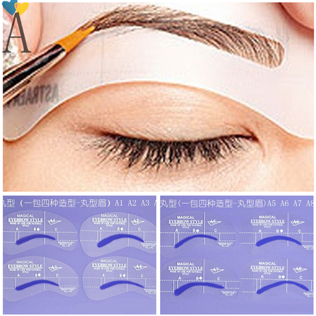 8pcs/lot A Styles Brow Painted Eyebrow Pencil Stencils Model Template Stencil for Eye Eyebrow Makeup