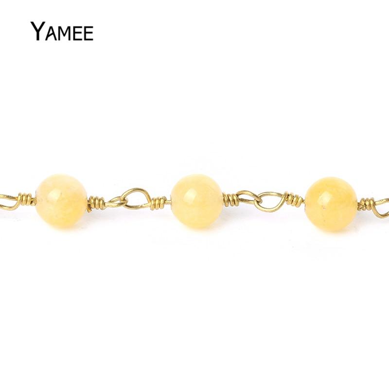 5 Meter Gelb Farbe Jade Runde Perlen Rosenkranz Kette Reinem Kupfer ...