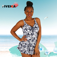 One Piece Women Swimwear Sexy Sling Halter Lace Flower Printed Solid Color Large Size Bathing Swimsuit