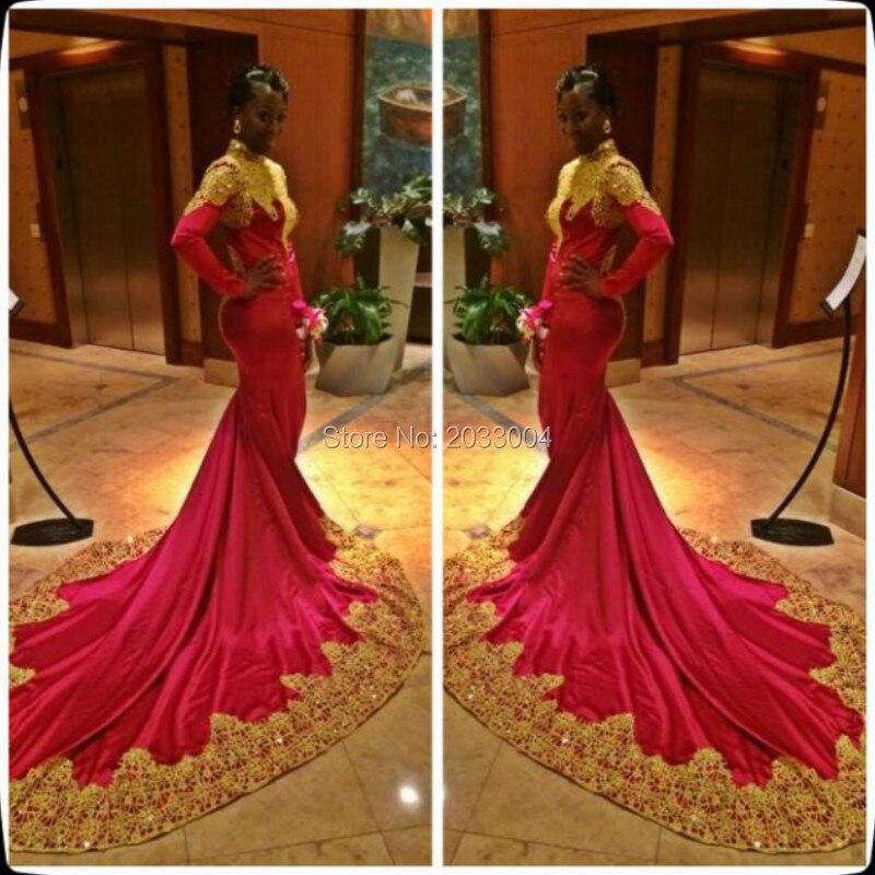 High Neck Gold Appliques Chapel train Long Sleeves font b Hijab b font Evening Dress Gowns