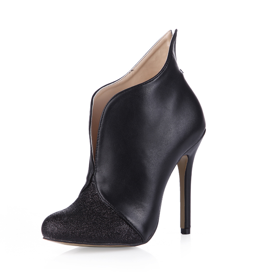 ФОТО 2016 Winter Black Sexy Party Shoes Women Round Toe Stiletto High Heels Formal Evening Ladies Ankle Boot Zapatos Mujer 0640CBT-i2