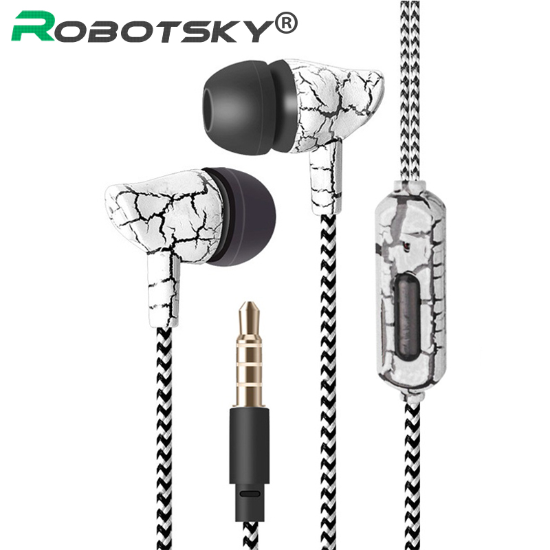 3.5mm Sport Crack Earphone Super Bass Wired Earbuds Headset Wired Headphones With Mic For Mobile Phone Gaming Headphones MP3 4