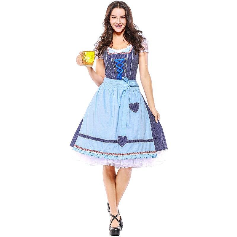 Umorden Coton Oktoberfest Costume Femmes Allemand Bavarois Restaurant Club Bar Bière Ménage Serveur Cosplay Bleu Plaid Fantasia Robe