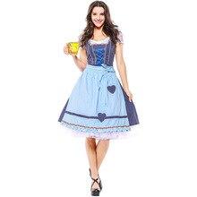 Umorden Cotton Oktoberfest Costume Women German Bavarian Restaurant Club Bar Beer Maid Waiter Cosplay Blue Plaid Fantasia Dress