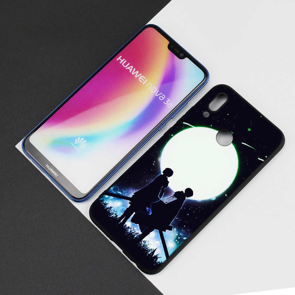 Black Silicone Case Bag Cover for Huawei P30 P20 P10 P9 P8 Mate 10 20 Lite 2017 Mini Pro P Smart Plus 2019 Attack On Titan Anime