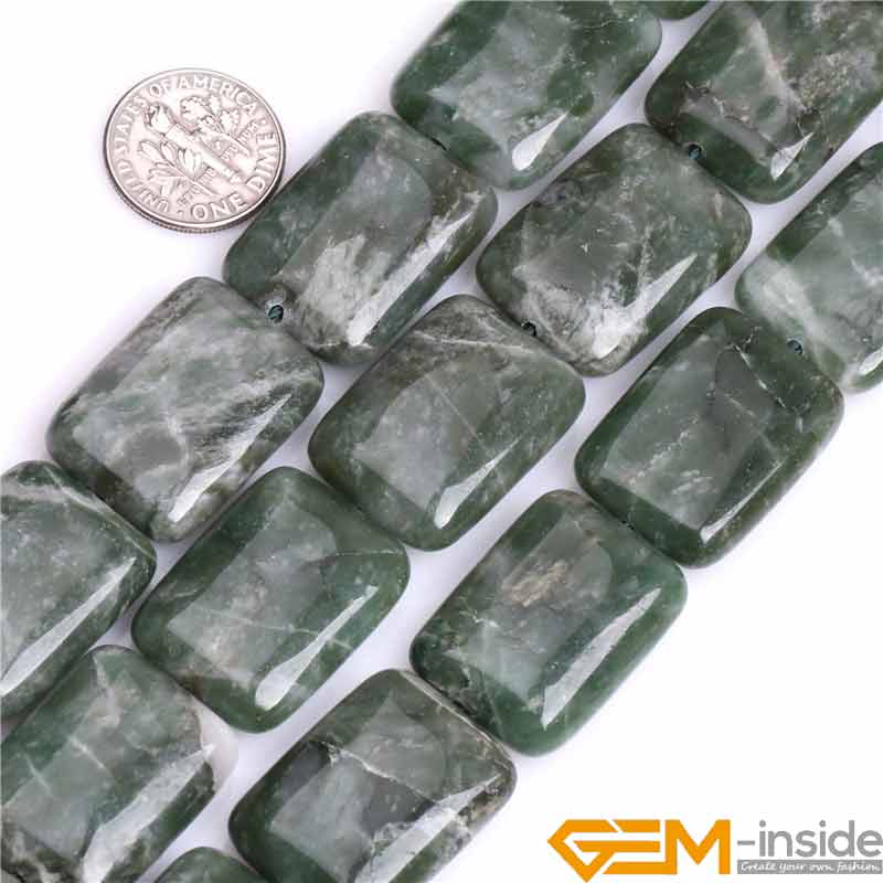 Rectangle Natural Green African Jades Stone Gem Stone Semi Precious Beads DIY Loose Bead for Jewelry Making 15 Inch Wholesale