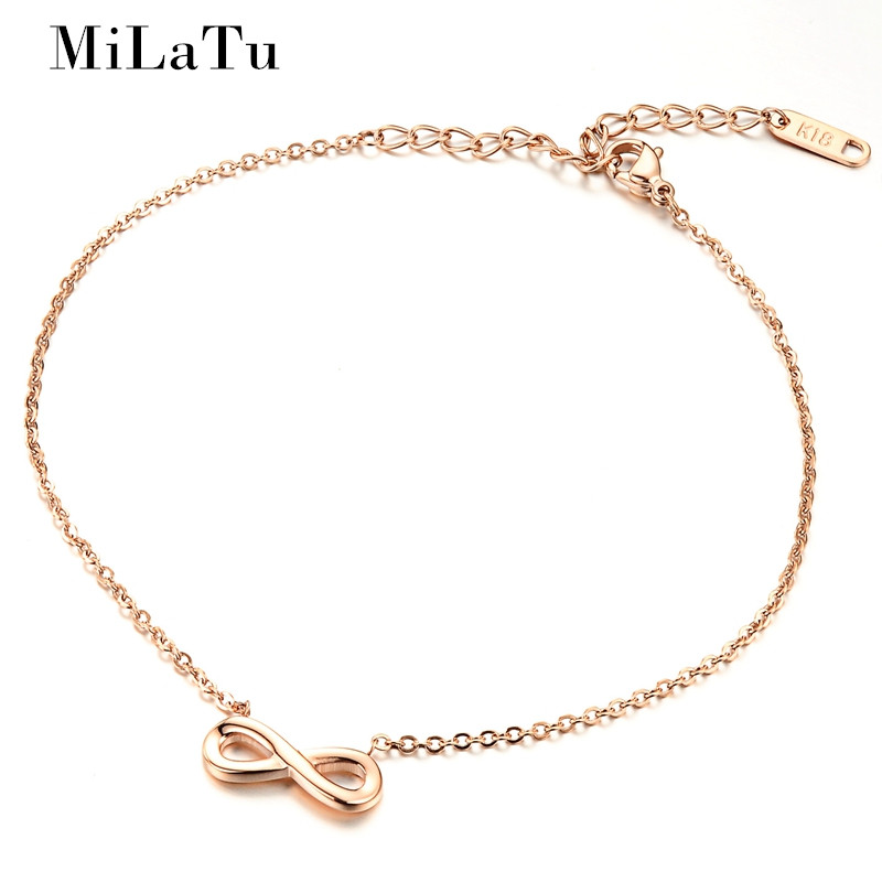 MiLaTu Women Infinity Ankle Bracelet Rose Gold Color Stainless Steel