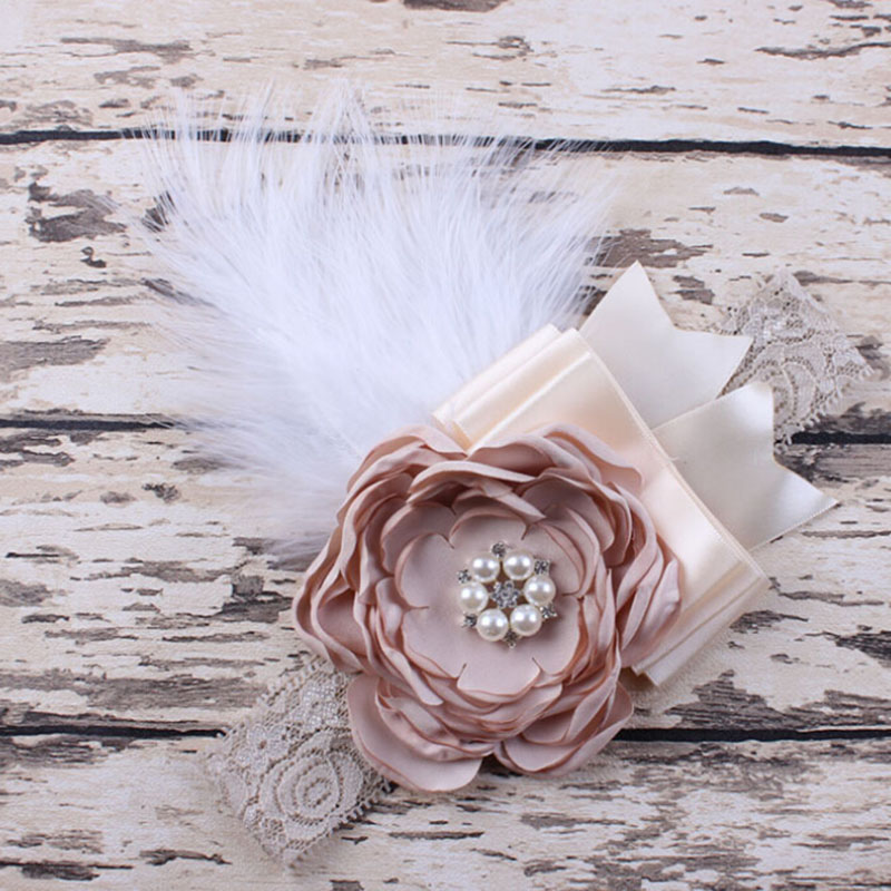 Newborn Sparking Rhinestone Feather Headband Baby Girl Headbs