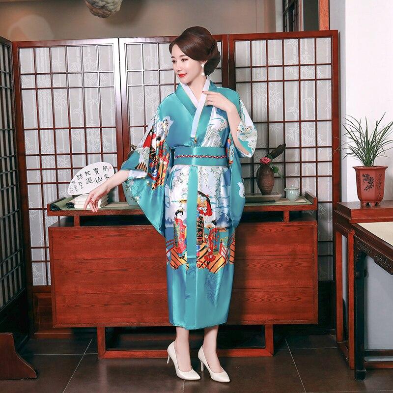 Yukata With Obi Blue  Female Print Peacock Kimono Bathrobe Gown Japanese Style Belt Evening Party Dresses Cosplay Costume