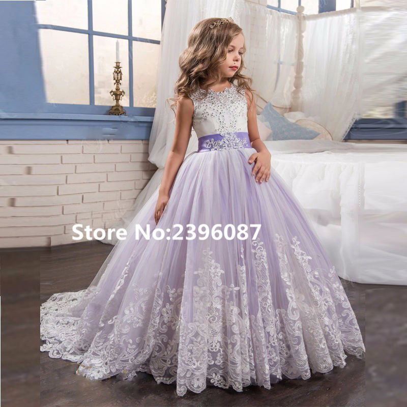 Purple Tulle Sleeveless Lace   Flower     Girl     Dresses   With Bow Ball Gown First Communion   Dress   for   Girls   Little   Girls   Pageant   Dresses