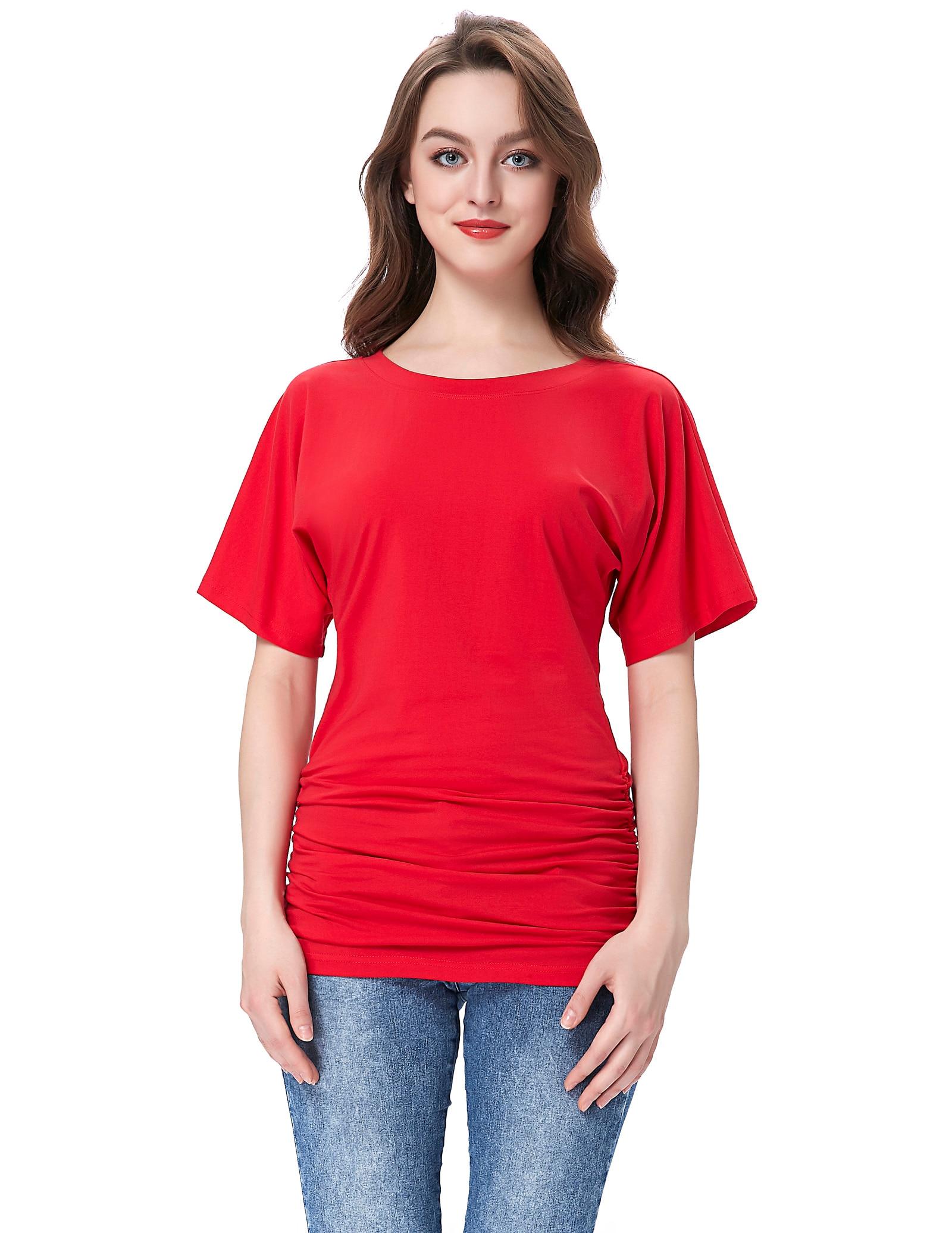 Women retro red tshirt coachella Short Sleeve Kimono Dolman Sleeve Round Neck Shirring T-Shirt Top vs pink women
