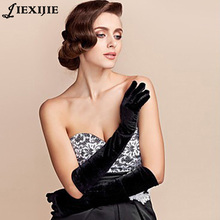 Gold velvet gloves in the long section of warm blanket etiquette ladies thin banquet nobility