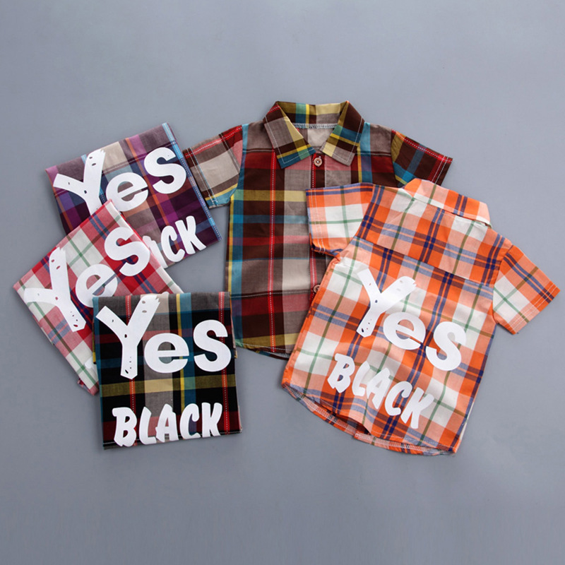 2019 summer big plaid children 39 s suit newborn baby boy clothes suit clothes fashion plaid shirt shorts clothing baby outfit in Clothing Sets from Mother amp Kids