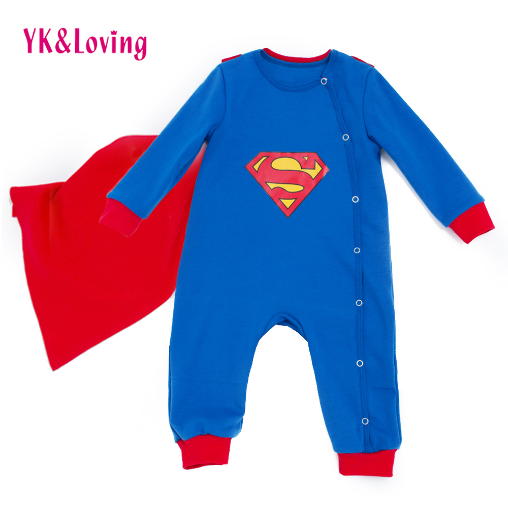 Superman Baby Boy/Grils Rompers Long Sleeve With Cloak Halloween Christmas Cartoon Clothes Costume Gift Autumn Winter Clothing