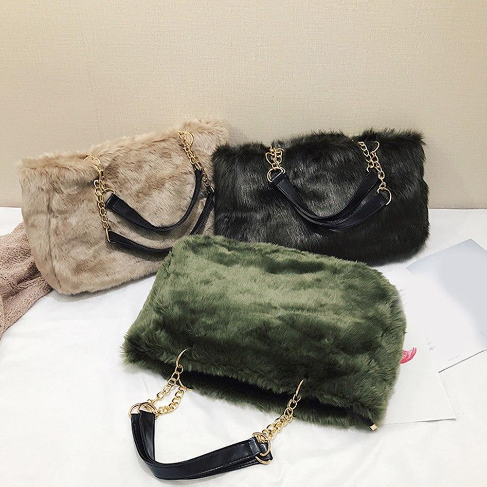 da8c692e7c5e 2018 Winter Faux Fur Handbags Women Shoulder Bags Solid Casual Tote ...