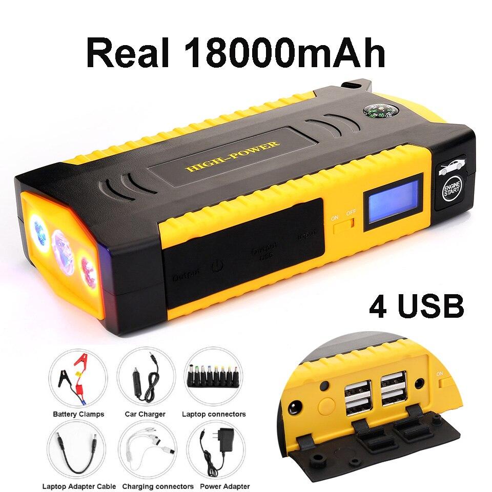 Universal Jump Starter Réel 18000 mah Banque D'alimentation de Secours 12 v 4USB 600A Batterie De Voiture Saut Démarreur Booster Véhicule À Partir dispositif