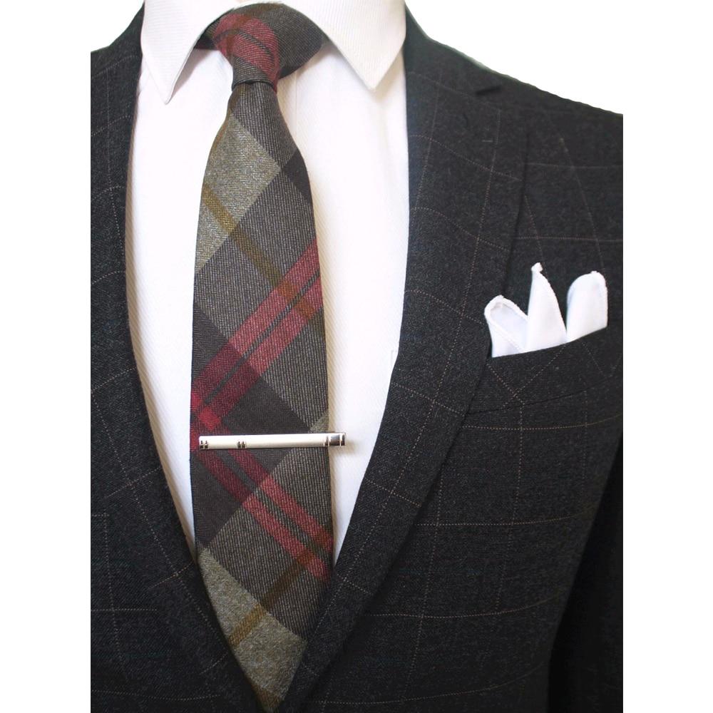 JEMYGINS Original 8CM Wool Cashmere Plaid Necktie White Pocket Square Tie Clip Pin Set England Design Handmade Fashion Men Tie