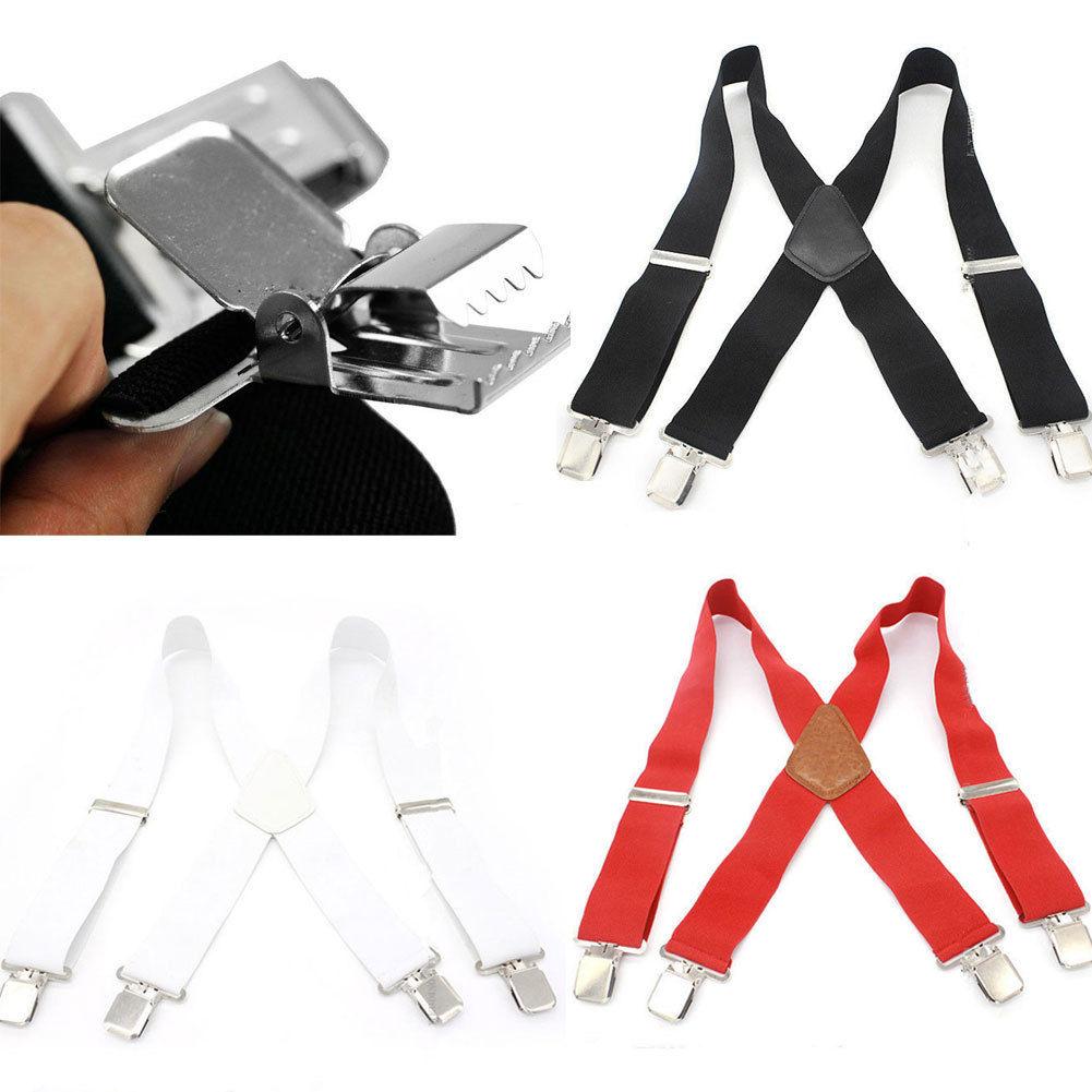 Unisex Adult 50mm Wide Braces Plain Heavy Duty Suspender Elastic Strap 4 Colors
