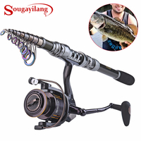 Sougayilang Spinning Fishing Rod Combo 1.8 3.6m Telescopic Fishing Rod and 14BB Spinning Fishing Reel Wheel Set Fishing Rod Kit