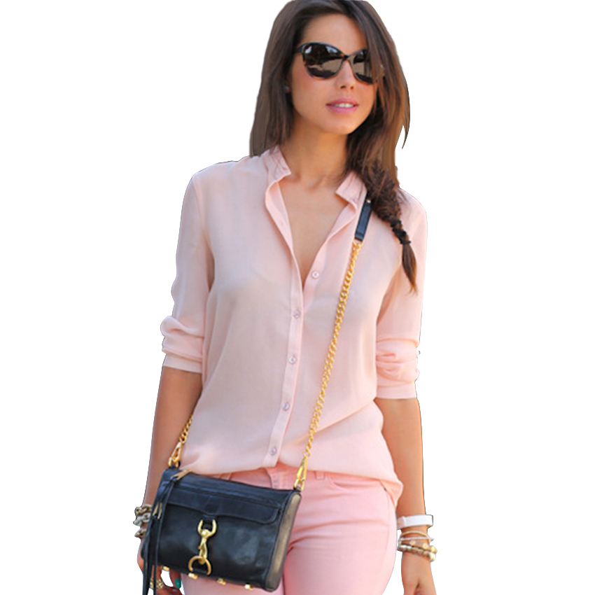 888f10266f4b9 Casual Loose Women Summer Autumn Blouse Formal Work Office Tops Pink Color  Chiffon Blusa Long Sleeve Feminino Shirt