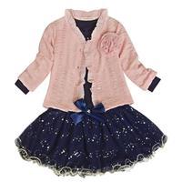 3 Pièces Bébé Filles Princesse Manteau T-shirt Tutu Jupe Party Set Costume Rose Vêtements Ensembles