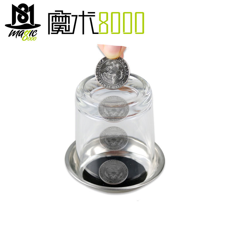 New Funny Coin Penetrates Into The Cup Tricks The Good Stretch COINS Through The Glass Magical Steel Cup Mat Magic Trick Props
