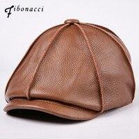 Fibonacci 2017 New Retro Brand Quality Beret Cowhide Genuine Leather Solid Beckham Newsboy Hat For Men Women Caps