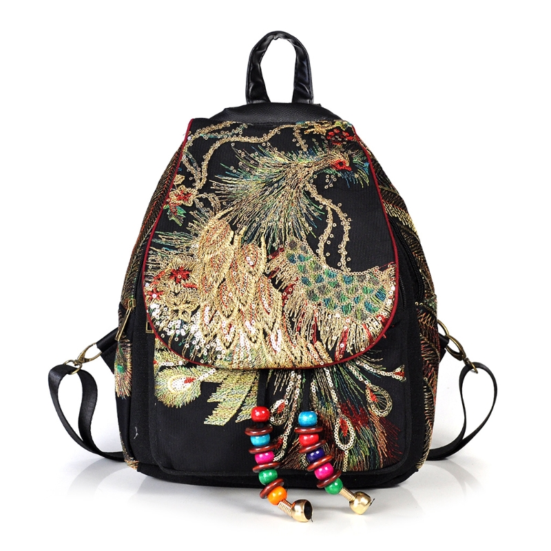 THINKTHENDO Women Phoenix Embroidery Canvas Ethnic Backpack School Backpack Travel Daypack детское кресло hamax caress w lockable bracket цвет серый белый черный