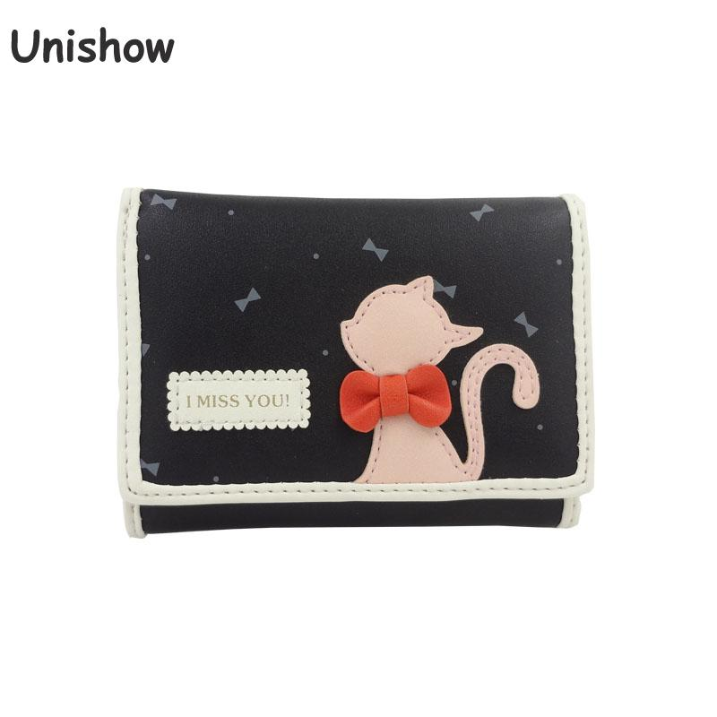 Unishow Cute Cat Wallet Small Women Cartoon Purse Kawaii Girl Wallet Mini Coin Purse Gift Money Bag