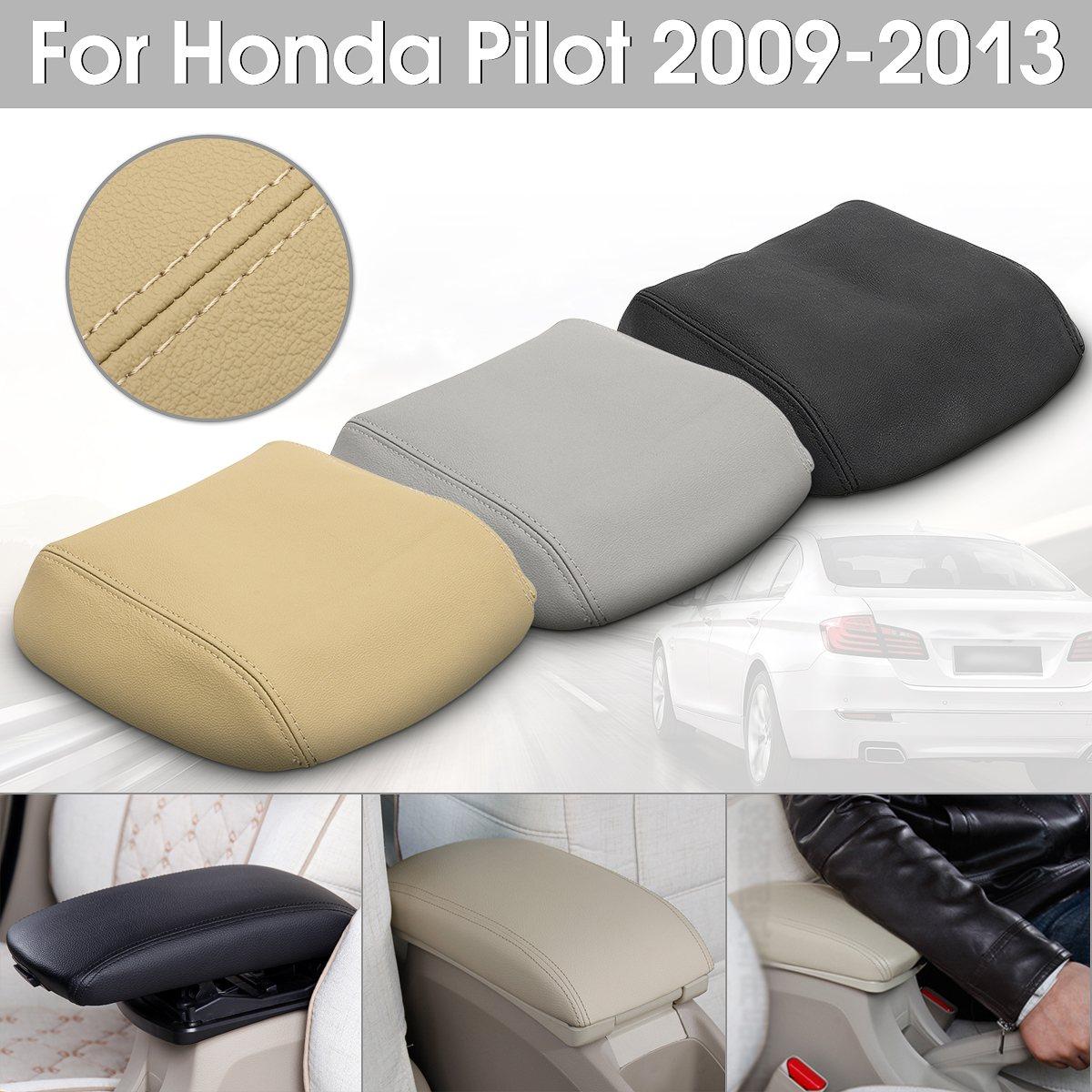 Car Braço Capa Center Console Lid Armrest Couro Real Tampa Pad Para Honda/Piloto 2009 2010 2011 2012 2013 preto/Cinza/Bege