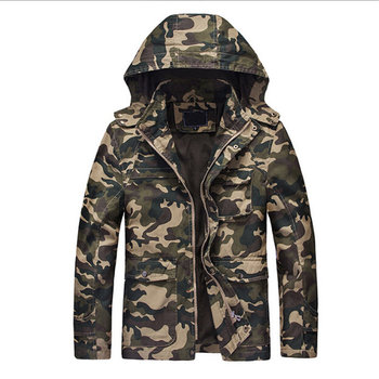 100% Cotton Men's Jackets Camouflage Spring Casual Thick Coats for Men Fashion Jacket Slim Zipper Warm Outerwear Hooded for Male