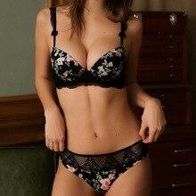 Yeni sutyen seti seksi dantel rahat parlak baskı iç çamaşırı avrupa kadınlar büyük boy Push Up sütyen pamuk sütyen iç çamaşırı siyah