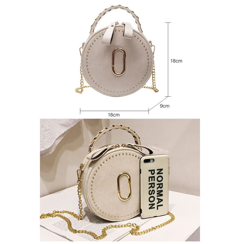 Image 4 - Beibaobao Circular Fashion Bags PU Leather Messenger Women Bags Rivet Crossbody Packages Female Shoulder Bags For Girls-in Top-Handle Bags from Luggage & Bags