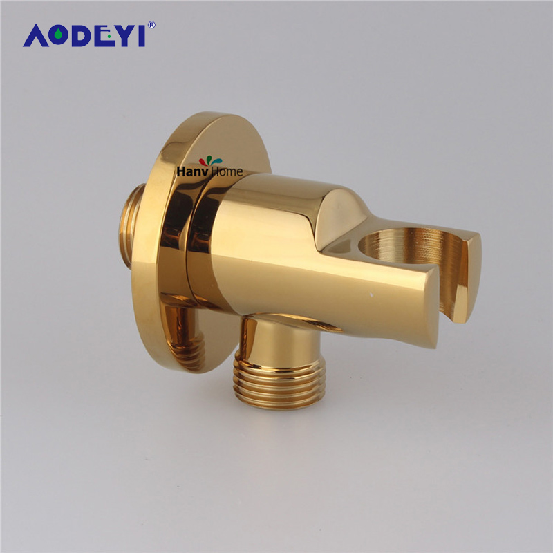 AODEYI Brass Gold Handheld Shower Holder Support Rack With Hose Connector Wall Elbow Bracket Unit Spout Water Inlet Angle Valve