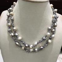 Повседневное Спортивная барокко долго пресной воды ожерелье из жемчуга и кристаллов Мода украшения для женщин серый цвет воск веревки
