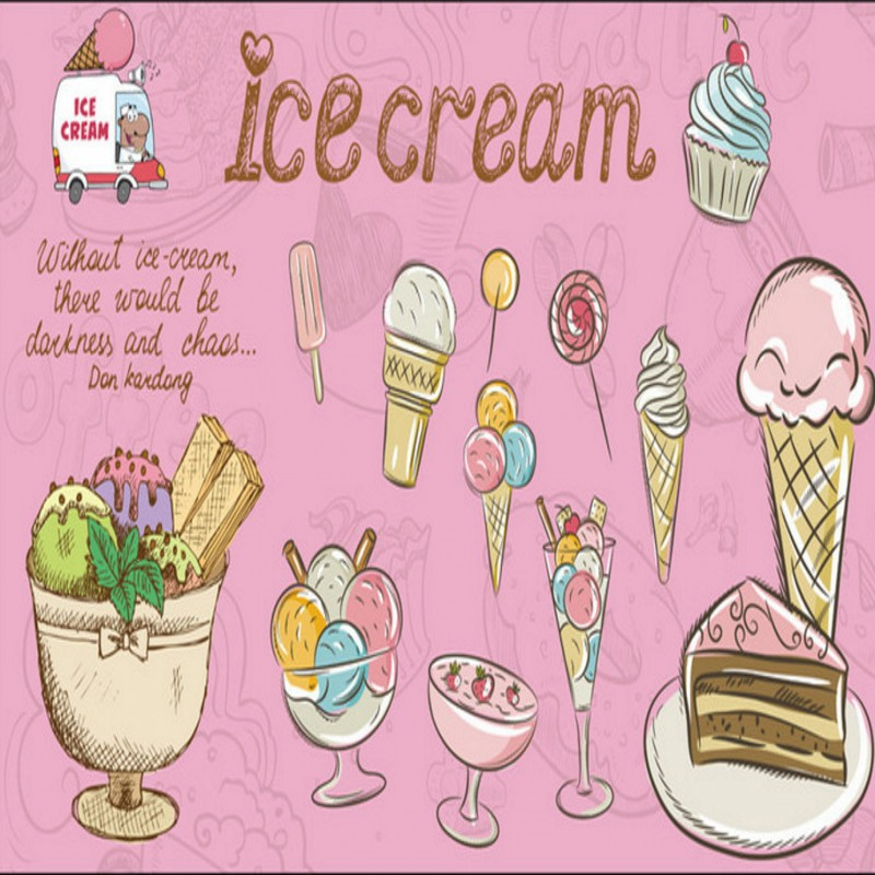 Us 11 64 21 Off Photo Wallpaper Pink Ice Cream Cake Mural Restaurant Custom Decorative Mural Girl Room Kitchen Wallpaper In Wallpapers From Home