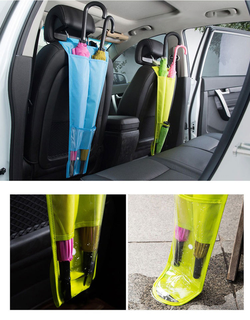 Car Seat Back Hanging Bag Umbrella Sleeve Holder Foldable Candy Color Auto Organizer Umbrella Storage Bag Interior Accessories