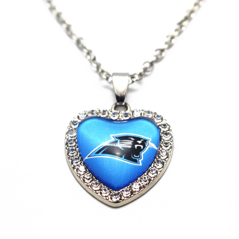 1pcs crystal sports carolina panthers glass heart pendant. Black Bedroom Furniture Sets. Home Design Ideas