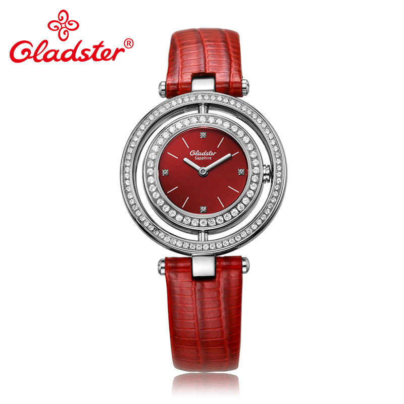 Gladster Luxury Japanese CITIZEN GL20 Women Quartz Wristwatch Diamond Red Leather Female Clock Sapphire Crystal Lady Dress Watch цена 2017