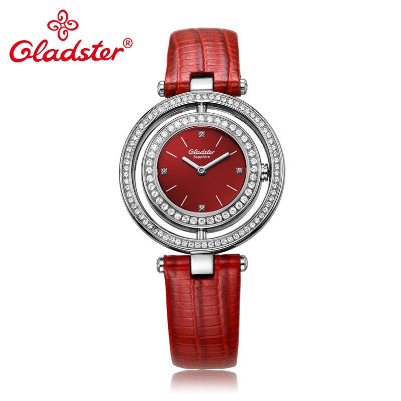 Gladster Luxury Japanese MIYOTA GL20 Women Quartz Wristwatch Diamond Red Leather Female Clock Sapphire Crystal Lady Dress Watch цена 2017