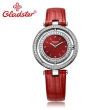 Gladster Luxury Japanese MIYOTA GL20 Women Quartz Wristwatch Diamond Red Leather Female Clock Sapphire Crystal Lady Dress Watch