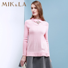 2017 spring slim brief long-sleeve solid wool sweater fashion women's clothing pullover sweater POLO collar sweater female