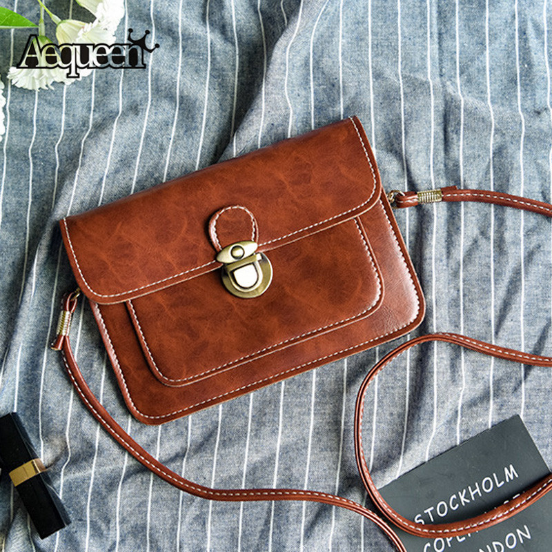 AEQUEEN 2018 New Small Side Of Mini Mobile Phone Messenger Bag Nice Women Hanbags Vintage PU Leather Single Strap Shoulder Bags 2