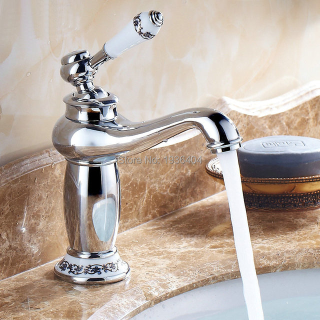 Chrome Faucets Bathroom Sink Basin Porcelain Brass Faucet Mixer Tap ...